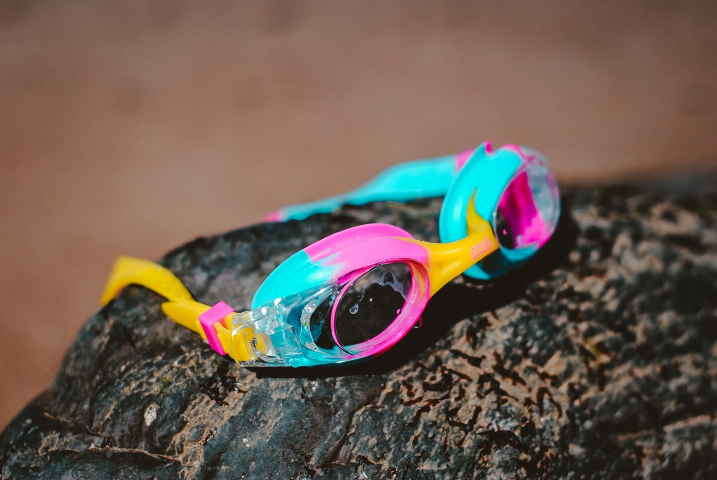 Goggles on a rock