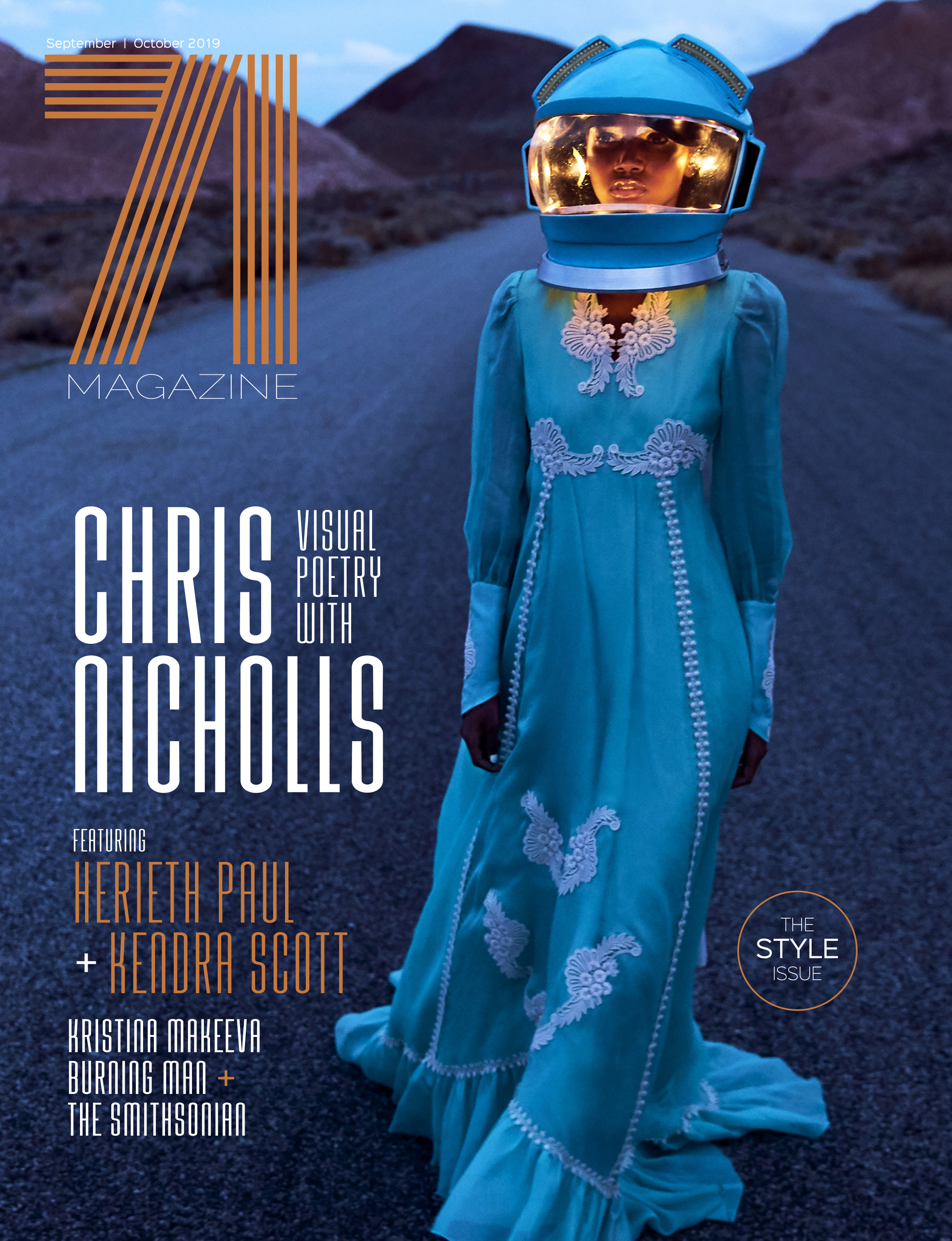 Women in space hat and glamorous dress on the Style issue cover.