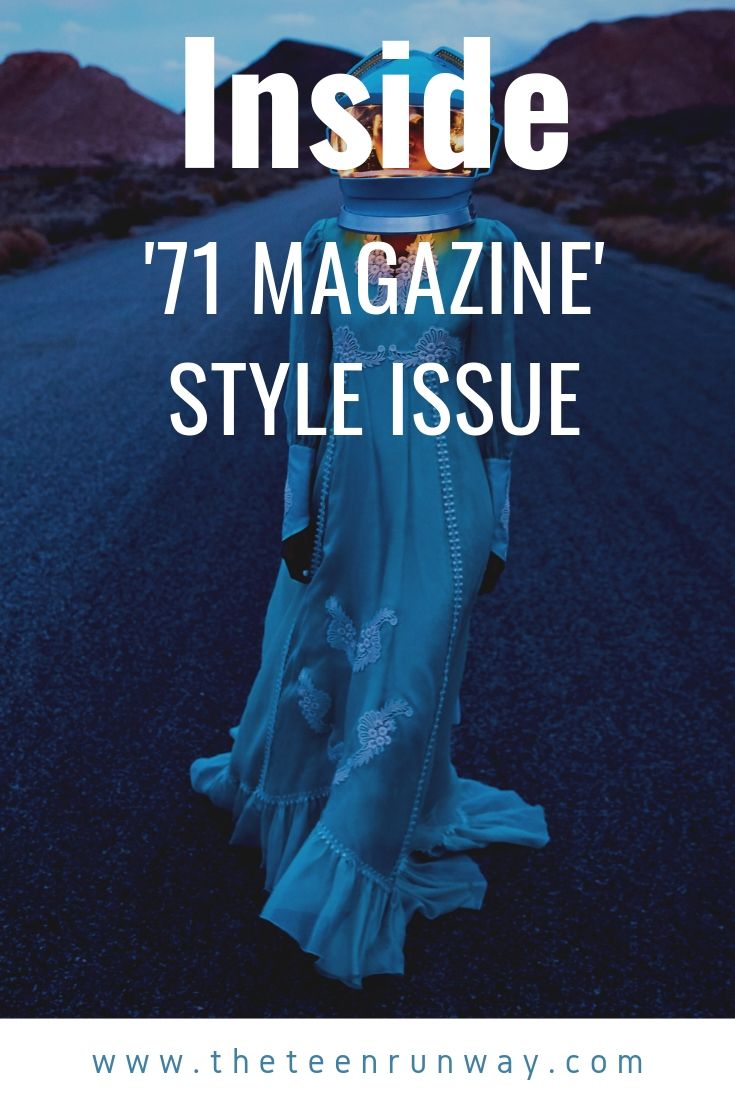 Woman wearing a space suit and dress on Style issue cover image.
